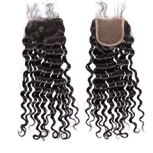 "10""-20"" Virgin Brazilian Hair Deep Wave Top Lace Closure(4""*4"") Free Style Natural Color"