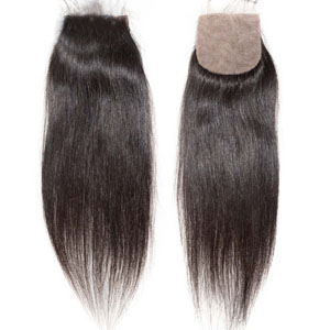 "10""-20"" Virgin Brazilian Hair Straight Silk Based Closure(4""*4"") Free Style Natural Color"