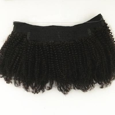 10 - 24 Inch Halo Hair Extensions #1B Natural Black Kinky Curly