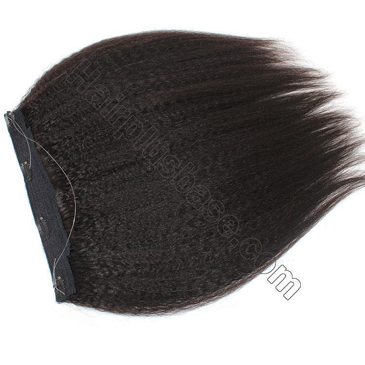 10 - 24 Inch Halo Human Hair Extensions #1B Natural Black Kinky Straight 2