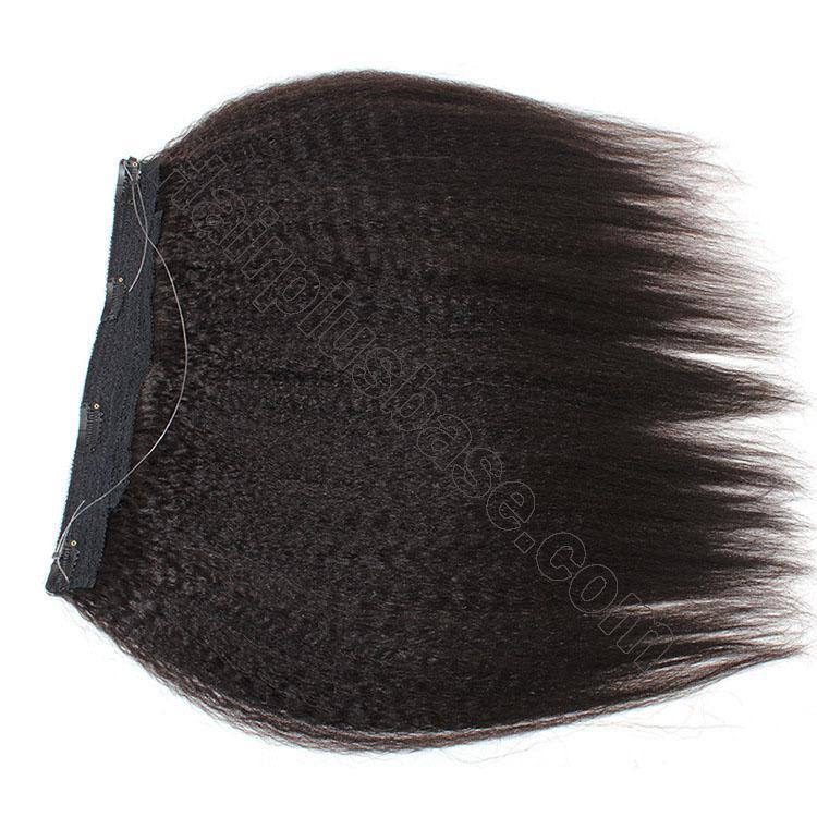 10 - 24 Inch Halo Human Hair Extensions #1B Natural Black Kinky Straight 4