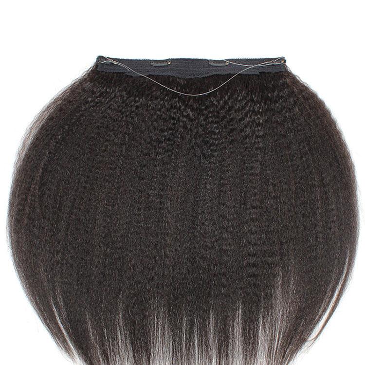 10 - 24 Inch Halo Human Hair Extensions #1B Natural Black Kinky Straight 7