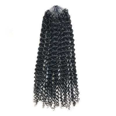 10 - 28 Inch Kinky Curly Micro Loop Human Hair Extensions #1B Natural Black 100S