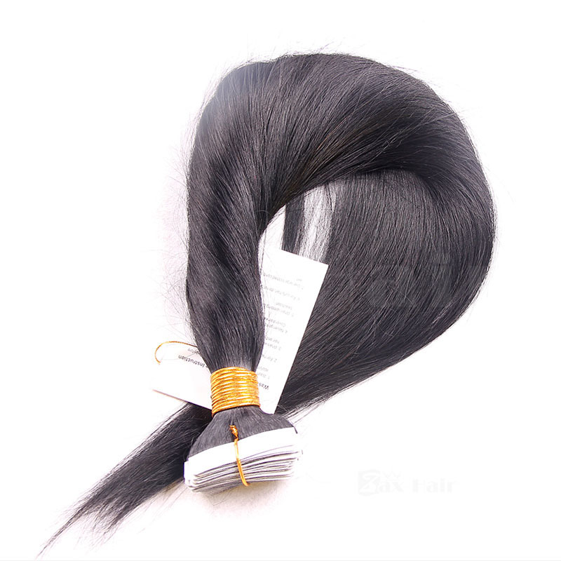 10 - 30 Inch Brazilian Remy Tape  In Hair Extensions #1B Natural Black Straight 20 Pcs 2