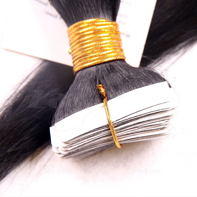 10 - 30 Inch Brazilian Remy Tape  In Hair Extensions #1B Natural Black Straight 20 Pcs 3