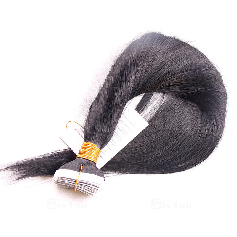10 - 30 Inch Brazilian Remy Tape  In Hair Extensions #1B Natural Black Straight 20 Pcs 5
