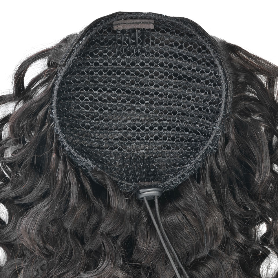 10  - 30 Inch Curly Human Hair Ponytail Drawstring Ponytail Extensions #1B Natural Black 2