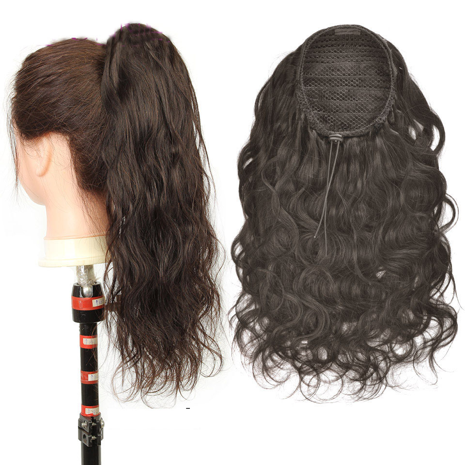 10  - 30 Inch Curly Human Hair Ponytail Drawstring Ponytail Extensions #2 Dark Brown 0