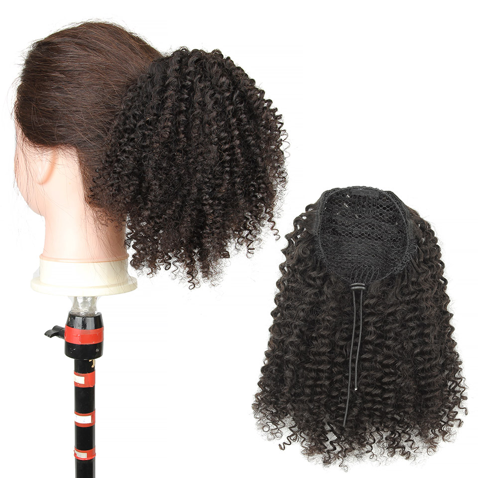 10  - 30 Inch Kinky Curly Human Hair Ponytail Drawstring Ponytail Extensions #1B Natural Black 0