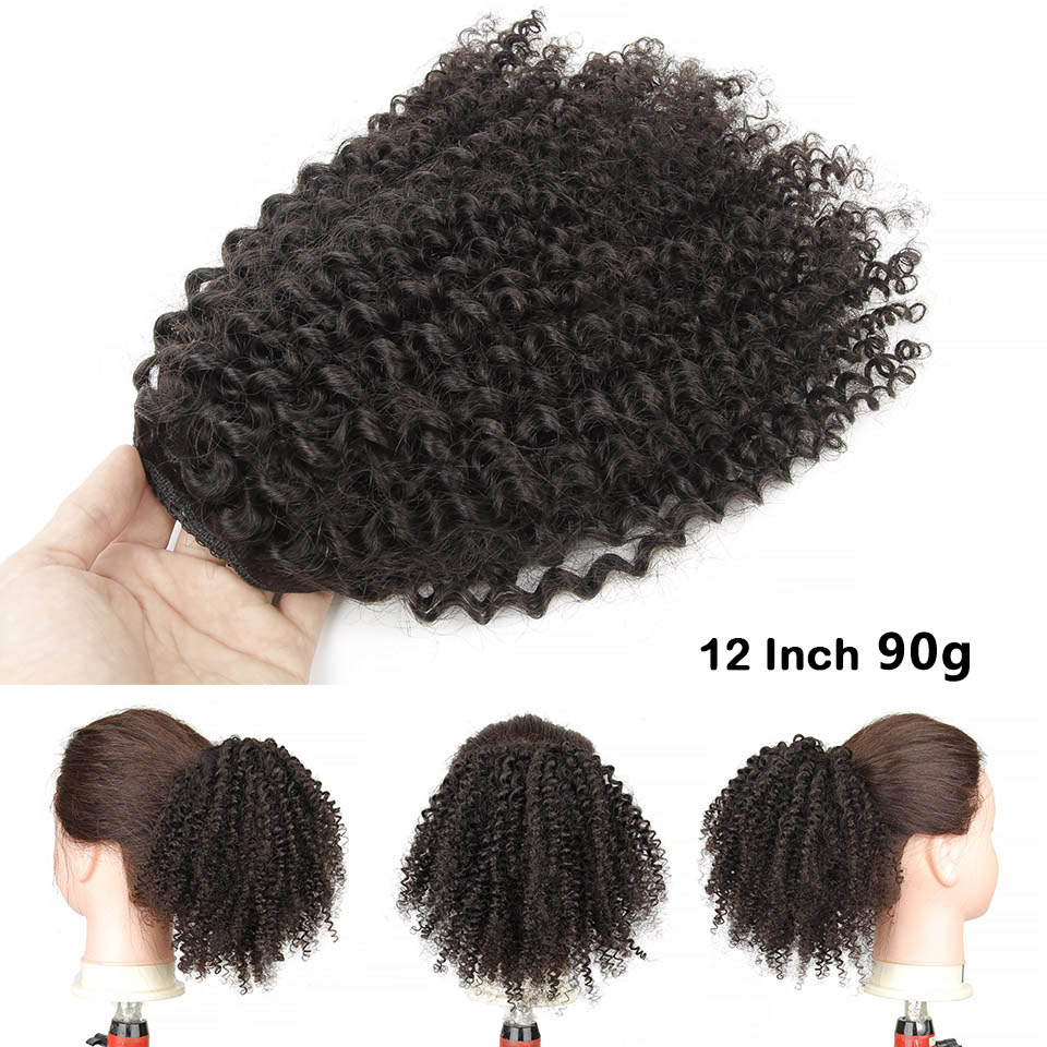 10  - 30 Inch Kinky Curly Human Hair Ponytail Drawstring Ponytail Extensions #1B Natural Black 1