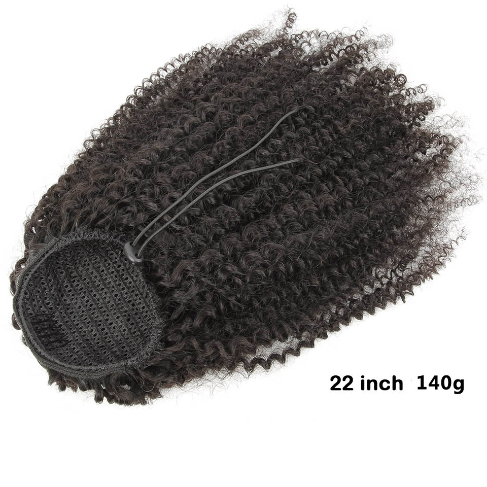 10  - 30 Inch Kinky Curly Human Hair Ponytail Drawstring Ponytail Extensions #1B Natural Black 2