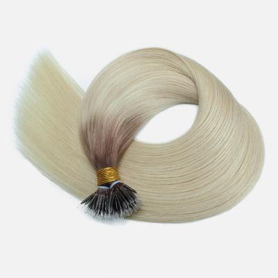 10 - 30 Inch Nano Ring Hair Extensions Pre Bonded Bead Tip Hair Extensions Ombre 100S #6T60