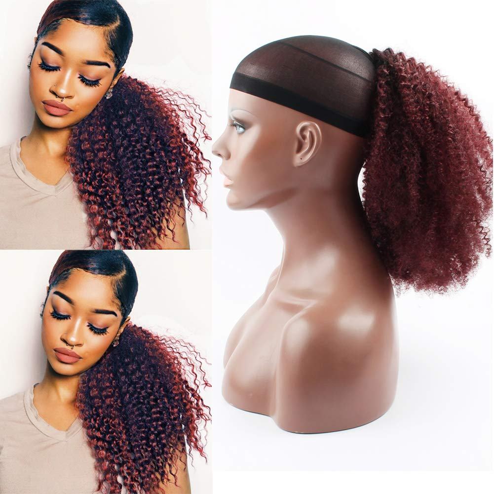 10 - 30 Inch Ombre Kinky Curly Human Hair Ponytail Drawstring Clip Ponytail Extensions #1B/Dark 99J