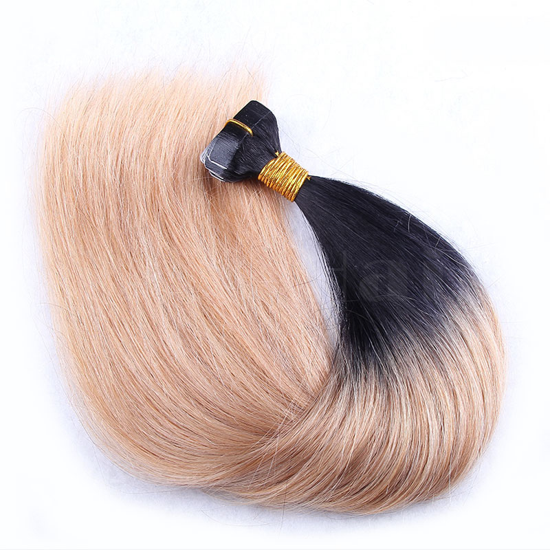 10 - 30 Inch Ombre Tape In Remy Human Hair Extensions Two Tone #1B/#27 Straight 20 Pcs 0