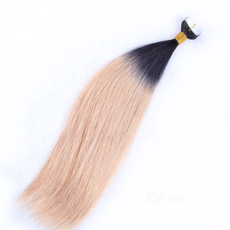 10 - 30 Inch Ombre Tape In Remy Human Hair Extensions Two Tone #1B/#27 Straight 20 Pcs 3
