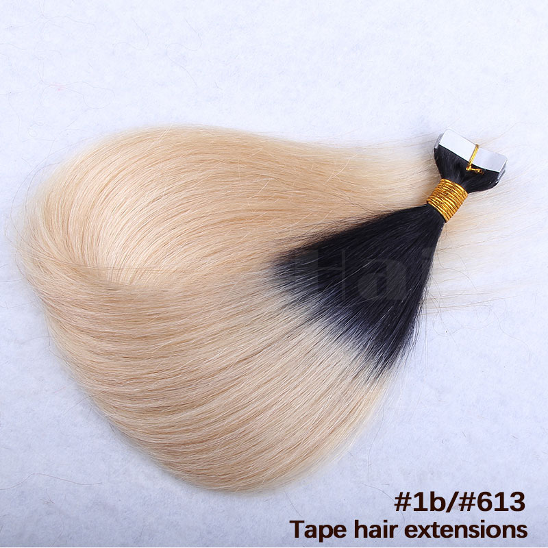 10 - 30 Inch Ombre Tape In Remy Human Hair Extensions Two Tone #1B/#27 Straight 20 Pcs 5