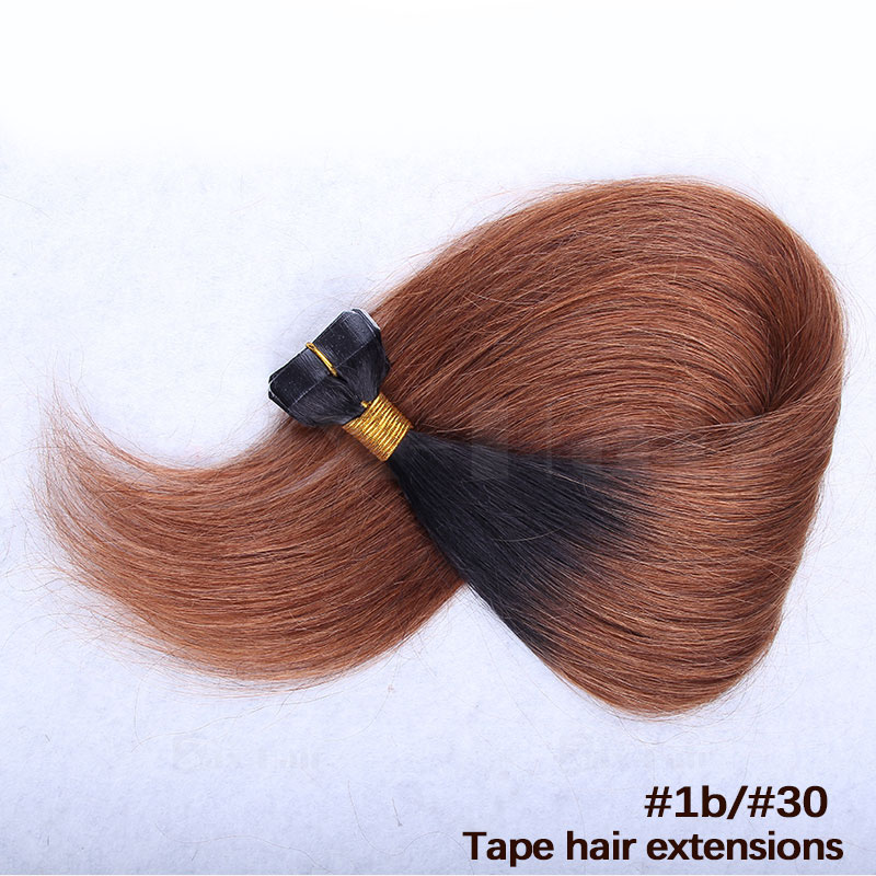 10 - 30 Inch Ombre Tape In Remy Human Hair Extensions Two Tone #1B/#30 Straight 20 Pcs 1