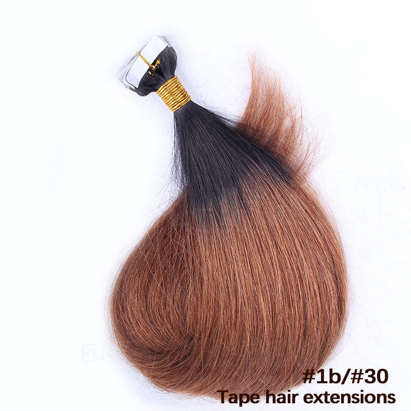 10 - 30 Inch Ombre Tape In Remy Human Hair Extensions Two Tone #1B/#30 Straight 20 Pcs 3