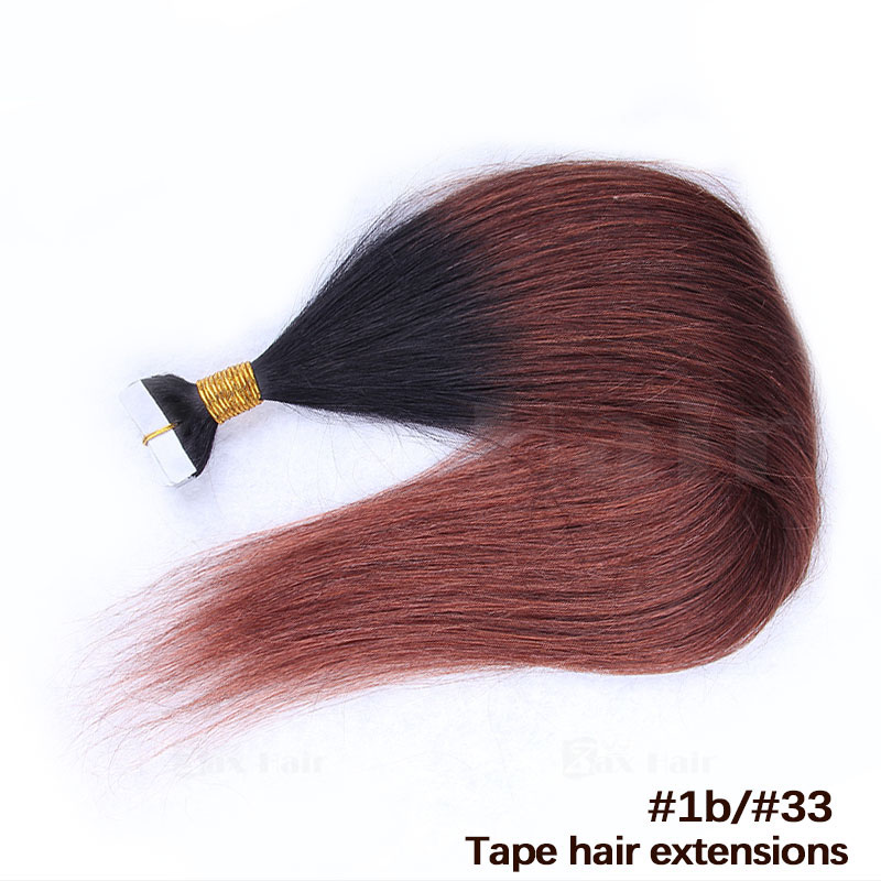 10 - 30 Inch Ombre Tape In Remy Human Hair Extensions Two Tone #1B/#30 Straight 20 Pcs 4