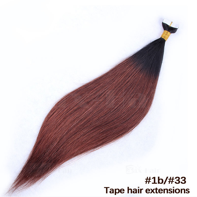 10 - 30 Inch Ombre Tape In Remy Human Hair Extensions Two Tone #1B/#30 Straight 20 Pcs 5