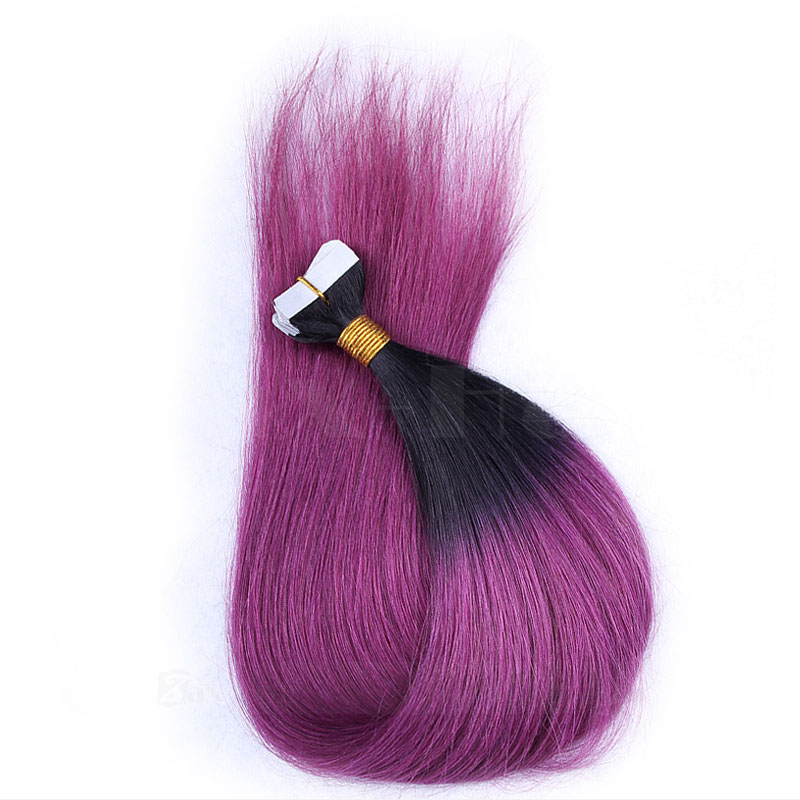 10 - 30 Inch Ombre Tape In Remy Human Hair Extensions Two Tone #1B/Purple Straight 20 Pcs