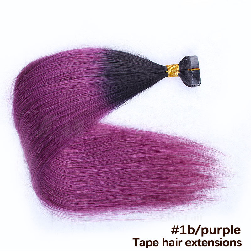 10 - 30 Inch Ombre Tape In Remy Human Hair Extensions Two Tone #1B/Purple Straight 20 Pcs 1