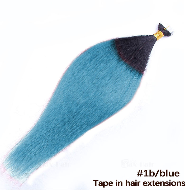 10 - 30 Inch Ombre Tape In Remy Human Hair Extensions Two Tone #1B/Purple Straight 20 Pcs 5