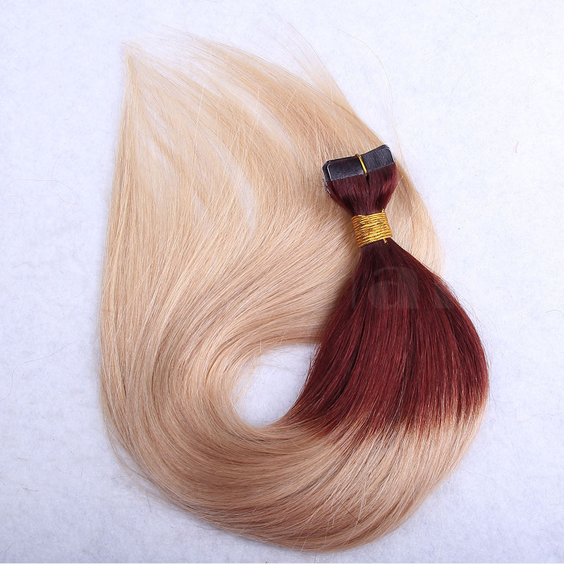 10 - 30 Inch Ombre Tape In Remy Human Hair Extensions Two Tone #30/22 Straight 20 Pcs 3