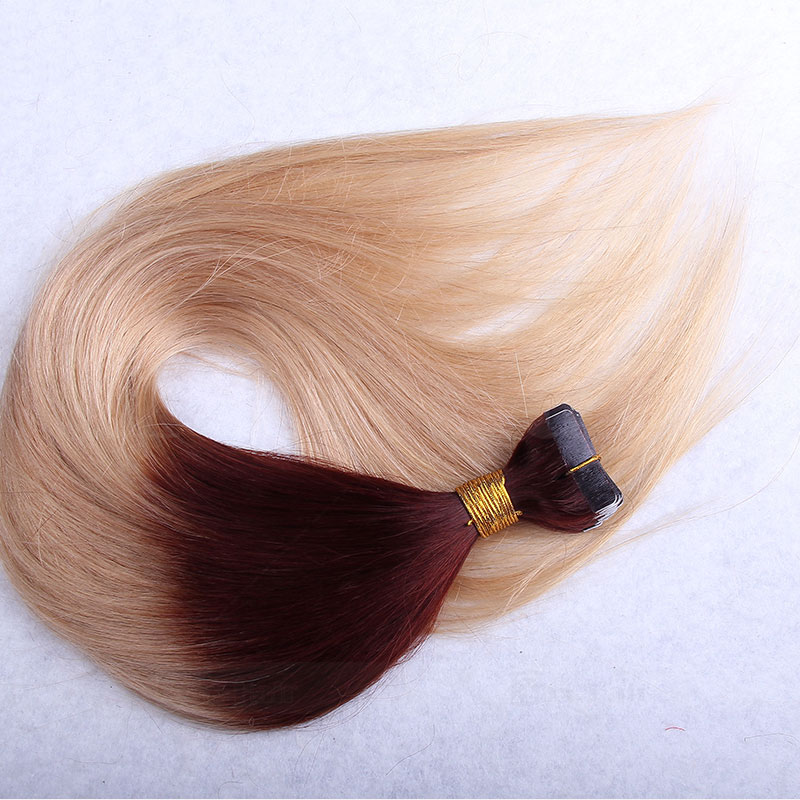 10 - 30 Inch Ombre Tape In Remy Human Hair Extensions Two Tone #30/22 Straight 20 Pcs 5