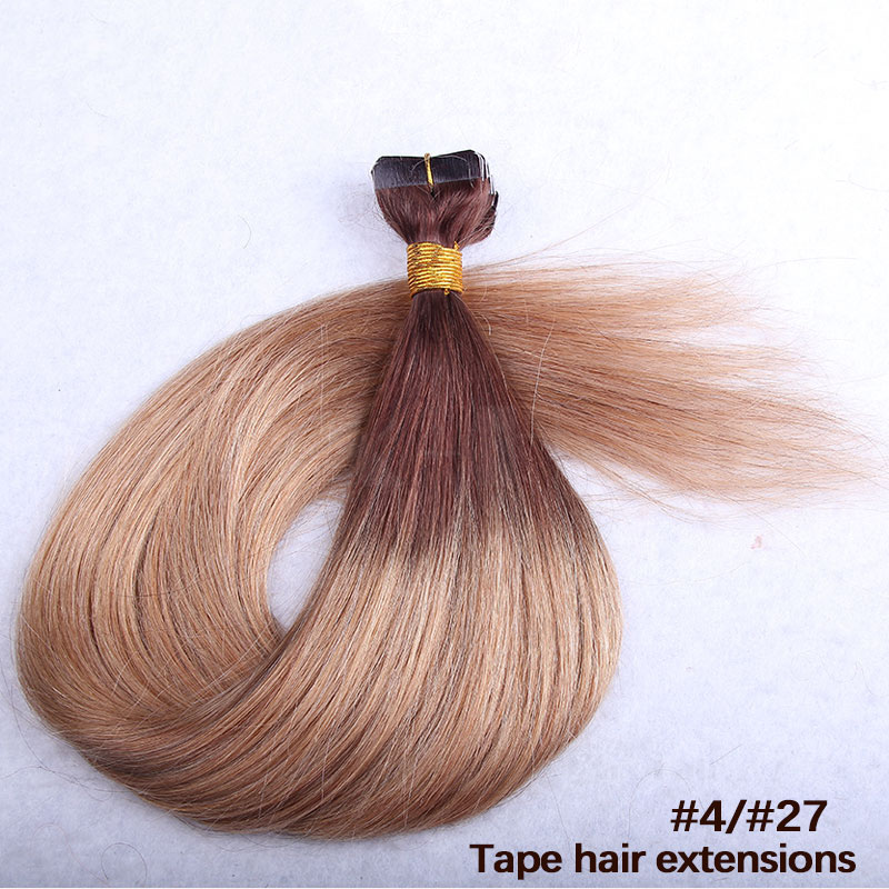 10 - 30 Inch Ombre Tape In Remy Human Hair Extensions Two Tone #4/27 Straight 20 Pcs 1