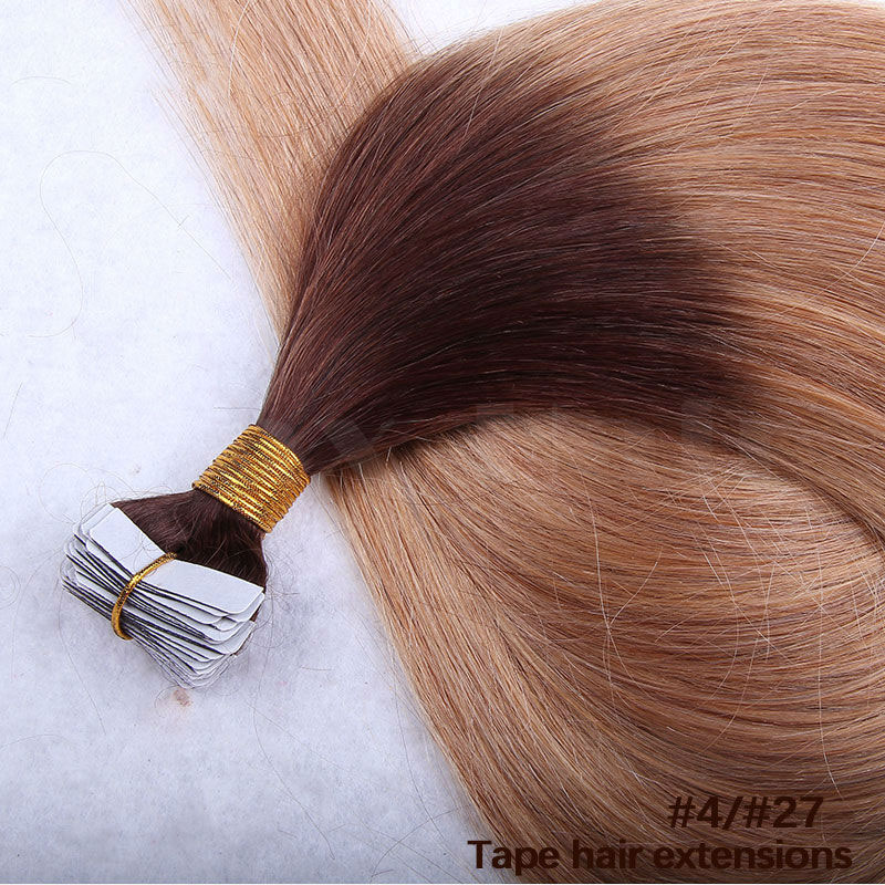 10 - 30 Inch Ombre Tape In Remy Human Hair Extensions Two Tone #4/27 Straight 20 Pcs 2