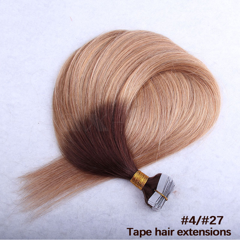 10 - 30 Inch Ombre Tape In Remy Human Hair Extensions Two Tone #4/27 Straight 20 Pcs 4
