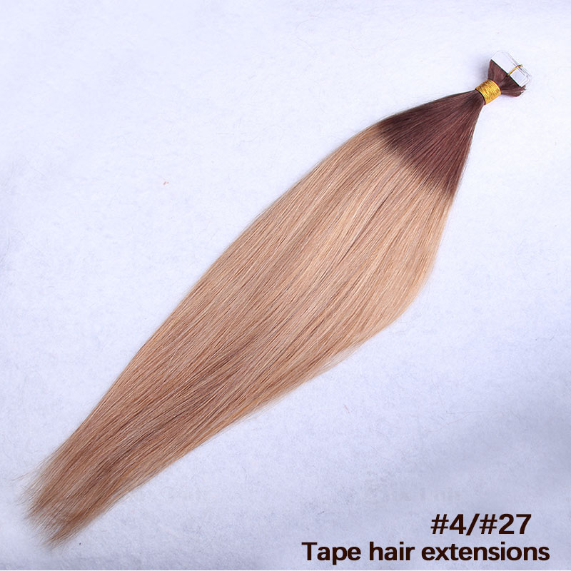 10 - 30 Inch Ombre Tape In Remy Human Hair Extensions Two Tone #4/27 Straight 20 Pcs 5