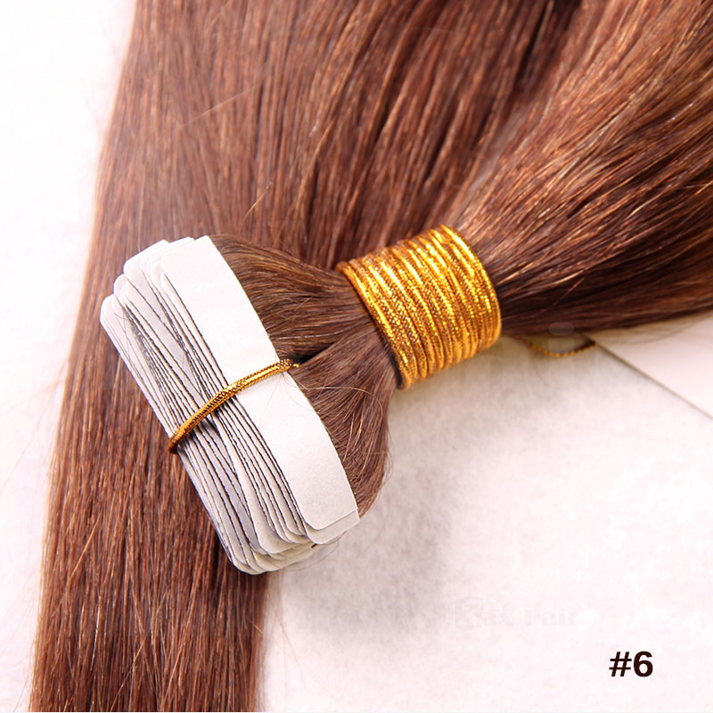 10 30 Inch Tape In Human Hair Extensions 6 Light Brown Straight