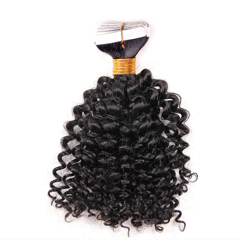 10 - 30 Inch Tape In Remy Human Hair Extensions  #1B Natural Black Afro Curl 20 Pcs 0