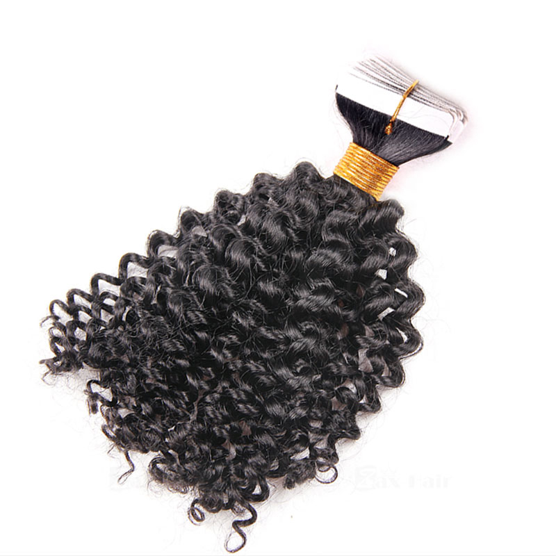10 - 30 Inch Tape In Remy Human Hair Extensions  #1B Natural Black Afro Curl 20 Pcs 1