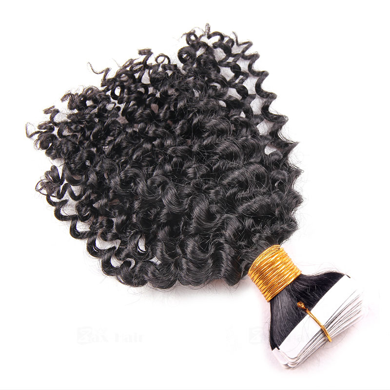 10 - 30 Inch Tape In Remy Human Hair Extensions  #1B Natural Black Afro Curl 20 Pcs 2