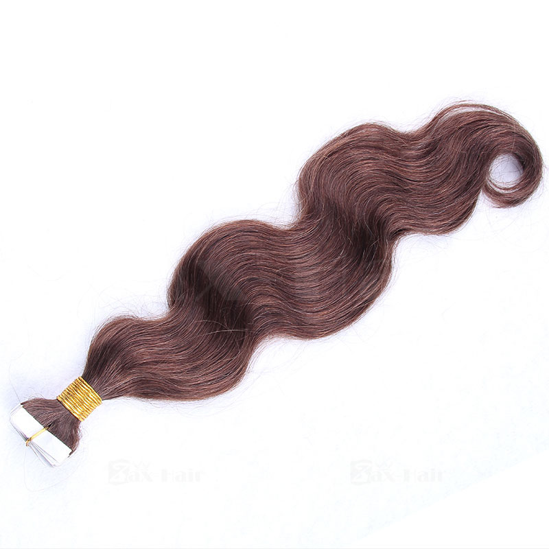 10 - 30 Inch Tape In Remy Human Hair Extensions #4 Medium Brown Body Wave 20 Pcs 0