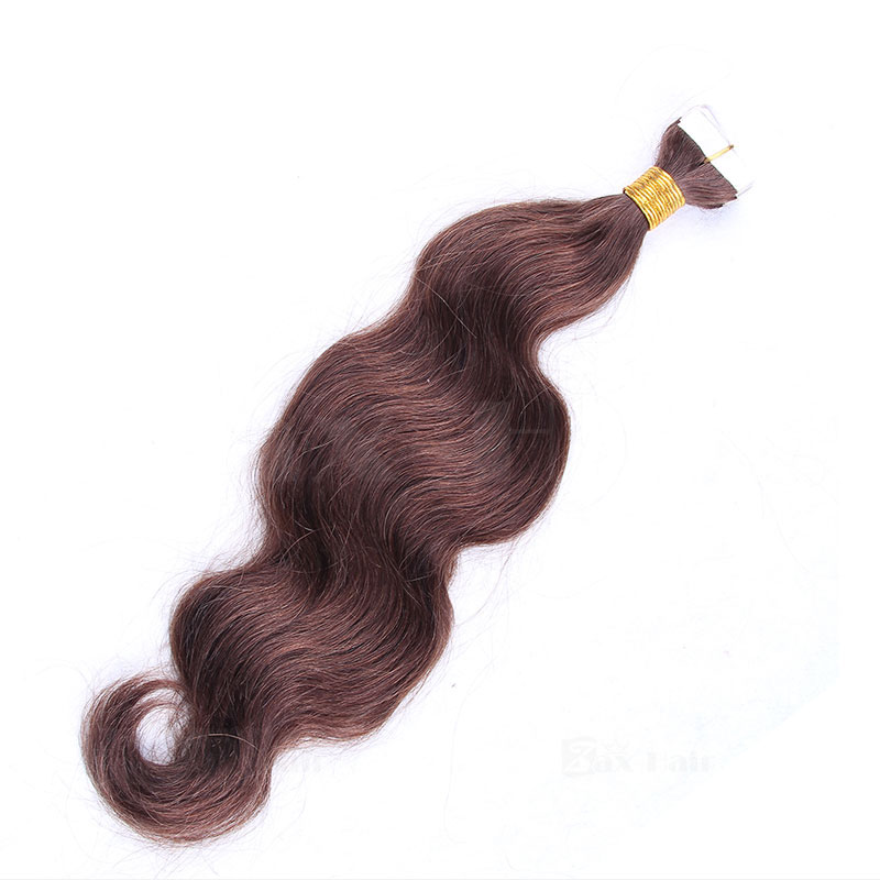 10 - 30 Inch Tape In Remy Human Hair Extensions #4 Medium Brown Body Wave 20 Pcs 2