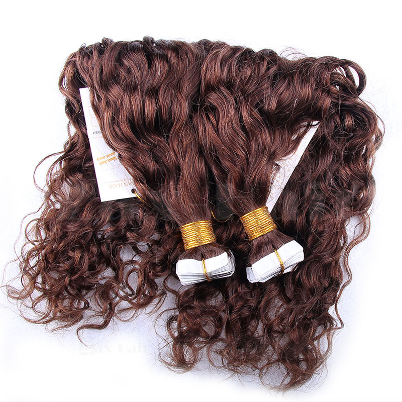 10 - 30 Inch Tape In Remy Human Hair Extensions #4 Medium Brown Loose Wavy 20 Pcs