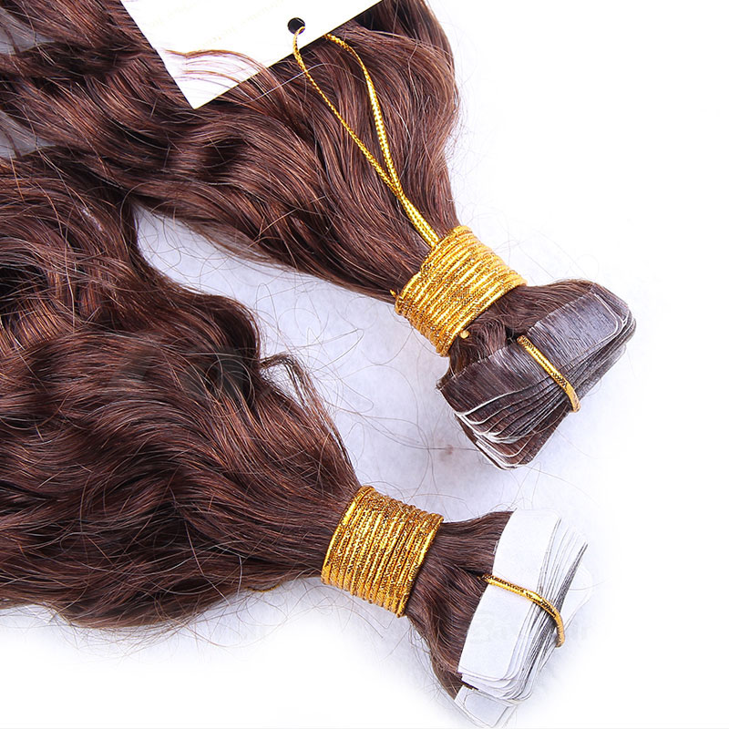 10 - 30 Inch Tape In Remy Human Hair Extensions #4 Medium Brown Loose Wavy 20 Pcs 1