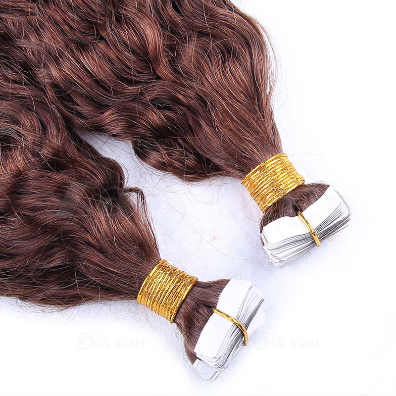10 - 30 Inch Tape In Remy Human Hair Extensions #4 Medium Brown Loose Wavy 20 Pcs 3