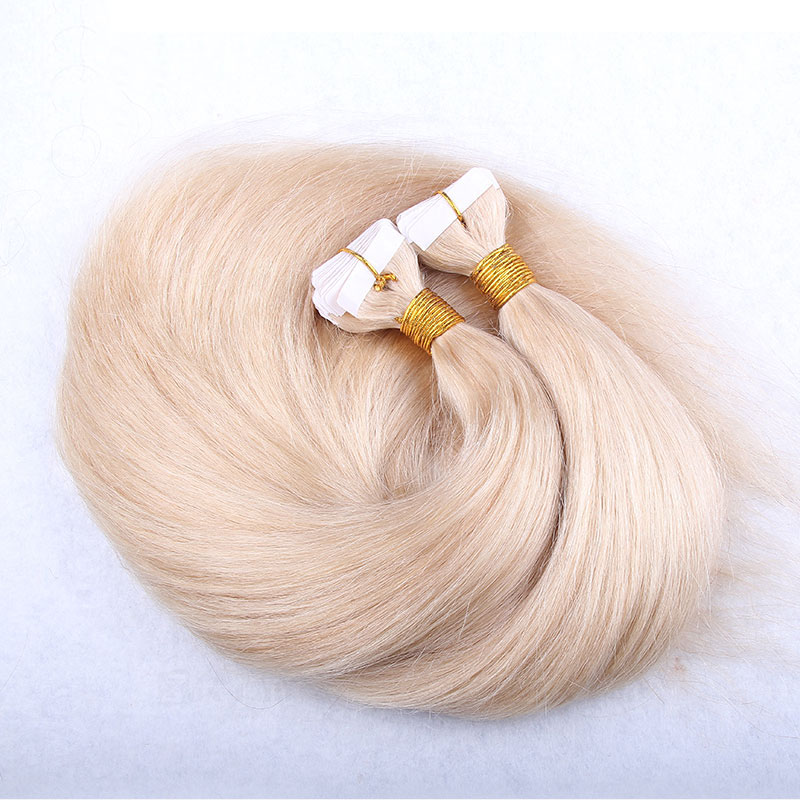 10 - 30 Inch Tape In Remy Human Hair Extensions #60 White Blonde Straight 20 Pcs 0