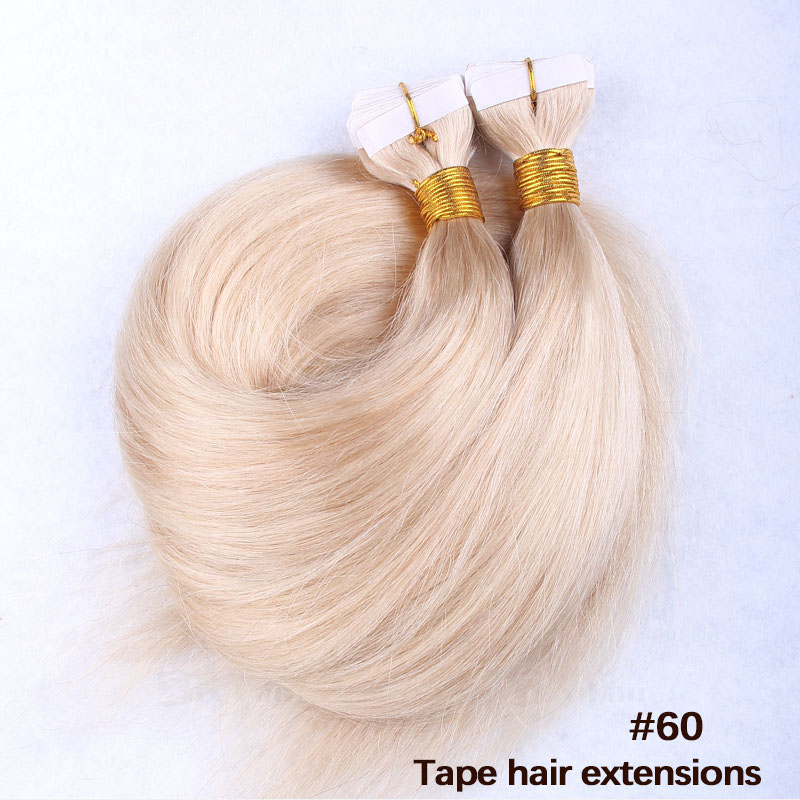 10 - 30 Inch Tape In Remy Human Hair Extensions #60 White Blonde Straight 20 Pcs 1