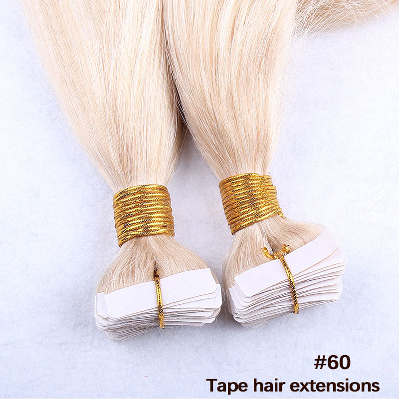 10 - 30 Inch Tape In Remy Human Hair Extensions #60 White Blonde Straight 20 Pcs 2