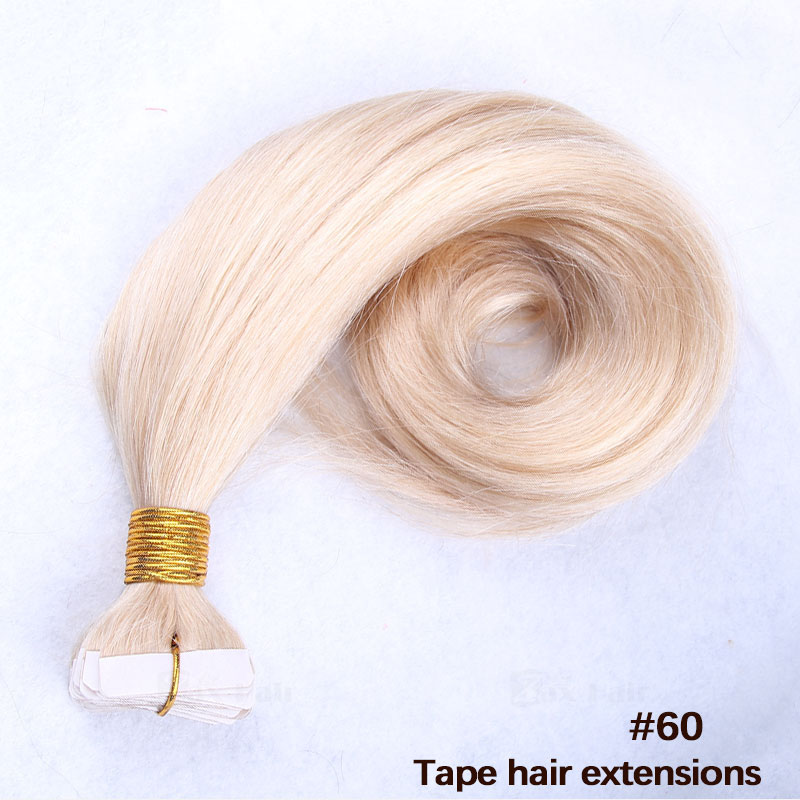 10 - 30 Inch Tape In Remy Human Hair Extensions #60 White Blonde Straight 20 Pcs 4