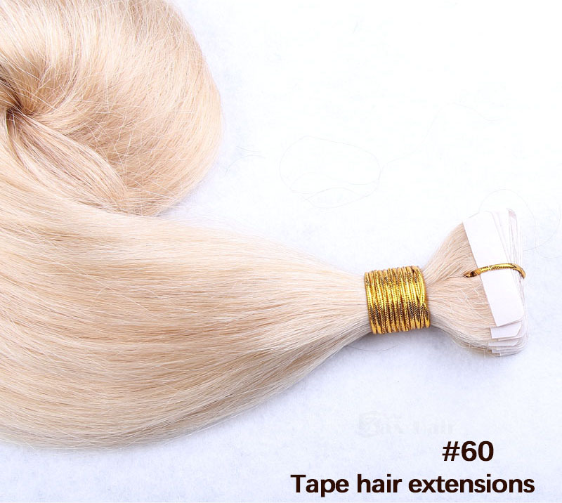 10 - 30 Inch Tape In Remy Human Hair Extensions #60 White Blonde Straight 20 Pcs 5