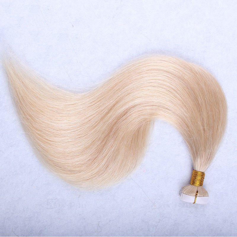 10 - 30 Inch Tape In Remy Human Hair Extensions #613 Bleach Blonde Straight 20 Pcs 3