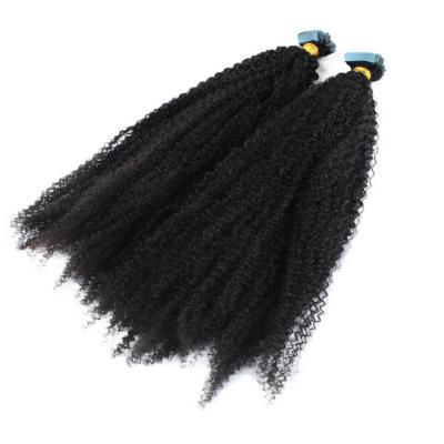 10 - 30 Inch Tape In Remy Human Hair Extensions Afro Kinky Curly 20Pcs