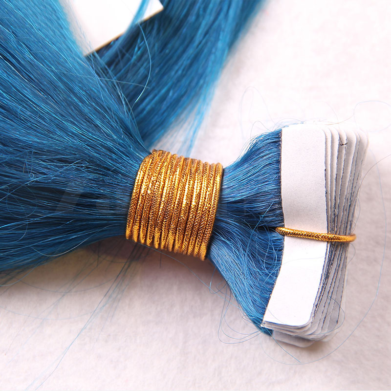 10 - 30 Inch Tape In Remy Human Hair Extensions Blue Straight 20 Pcs 1
